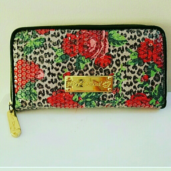 Betsey Johnson Handbags - Betsey Johnson floral rose print sequin wallet